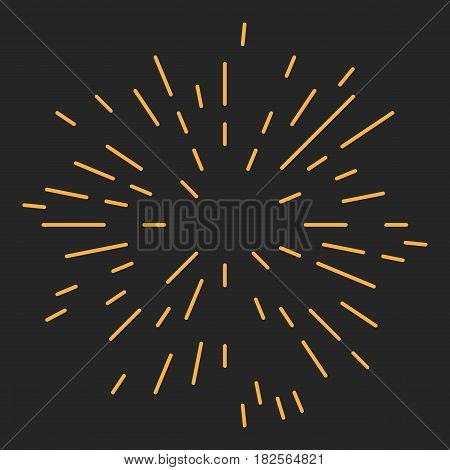 Starburst or Sunburst Abstract Design Element. Vector illustration on black.