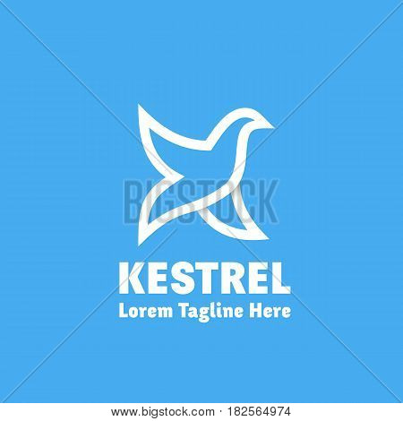 Kestrel Abstract Vector Sign, Emblem or Logo Template. Bird as Letter K Symbol. Line Style Silhouette with Typography. White on Blue Background.