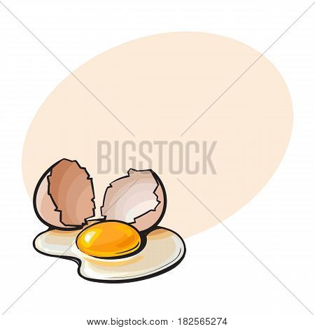 Cracked, broken and spilled chicken egg, sketch style vector illustration with space for textHand drawn, sketched raw, uncooked chicken egg and halves of eggshell