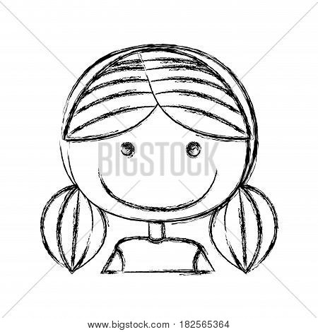 blurred silhouette caricature half body girl with small pigtail hair vector illustration
