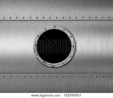 metal submarine or spaceship porthole window 3d illustration