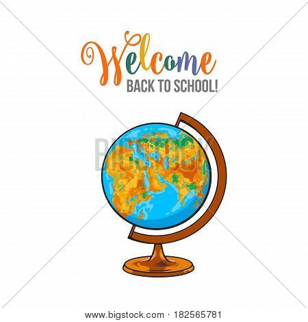 Welcome back to school poster, banner, postcard design with retro globe, vector illustration isolated on white background. Welcome back to school poster, banner, card design with globe