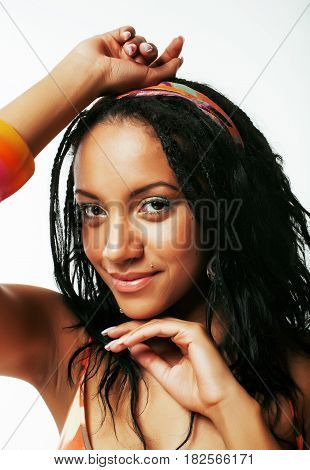 young pretty african american woman isolated on white background happy smiling, wearing bright shawl and jewelry, showing bad corrupted hair, lifestyle people concept close up