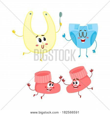 Funny baby booties, diaper, bib characters, infant clothes, child care concept, cartoon vector illustration isolated on white background. Baby booties, diaper, bib characters, infant necessities