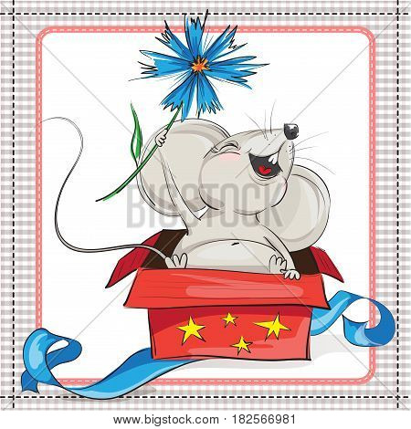 A little mouse with a flower climbs from gift box