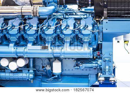 Diesel engine for boat. Blue color. Good for a design