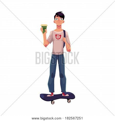 Boy, man in t-shirt and jeans, standing on skateboard, longboard with paper coffee cup, cartoon vector illustration isolated on white background. Boy, man riding, standing on skateboard, front view