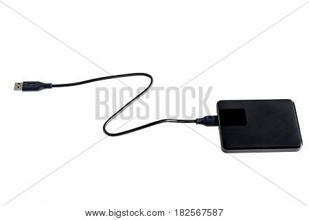 black external and isolate on white background