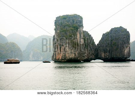 View of rock islands at famous Halong Bay in Vietnam