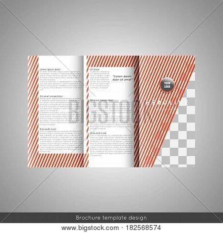 Trifold business brochure template design with striped background. Stock vector.