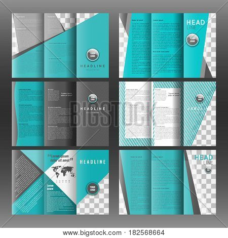 Set of tri-fold layout brochure template design. Corporate booklet. Stock vector.