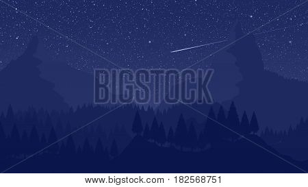 Mountain Landscape Illustration with Shooting Star and Star Trails