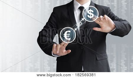 Business Man Show Currency Converter Or Exchange