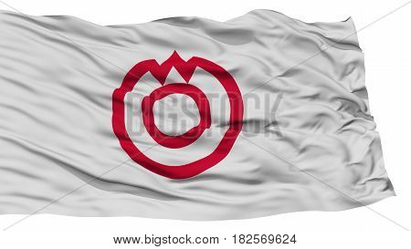 Isolated Yamaguchi Flag, Capital of Japan Prefecture, Waving on White Background, High Resolution
