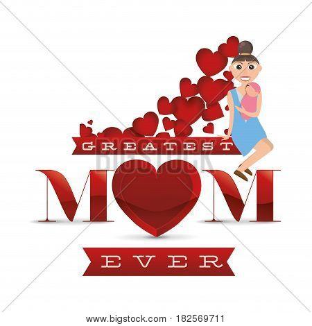 greatest mom ever card vector illustration eps 10