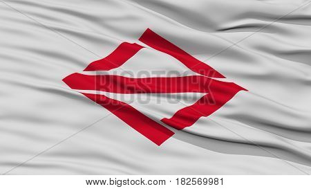Closeup of Yokohama Flag, Capital of Japan Prefecture, Waving in the Wind, High Resolution