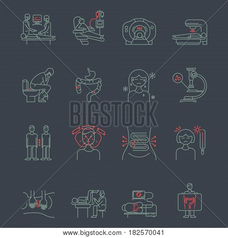 Cancer of the intestine. Set of linear icons.