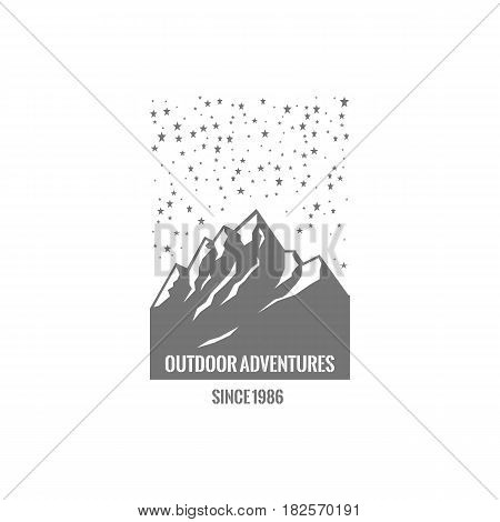 Mountain logo with starry sky. Stock vector.