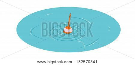 The concept of fishing. Float with fishing line on the water. Vector illustration