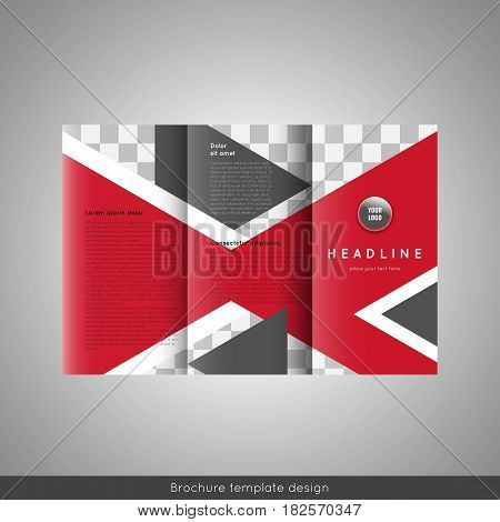 Trifold business brochure template design. Stock vector.