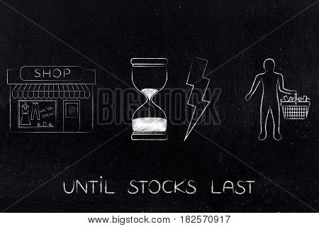 Shop, Hourglass Bolt Icons And Customer, Flash Sale