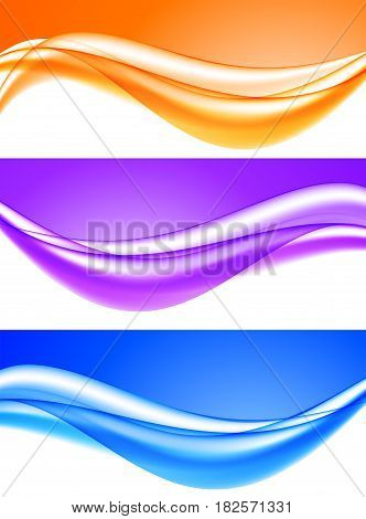 Abstract soft light waves set in blue purple orange colors and dynamic elegant smooth style. Vector illustration