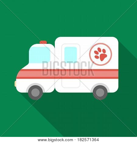 Veterinary ambulance icon in flate design isolated on white background. Veterinary clinic symbol stock vector illustration.