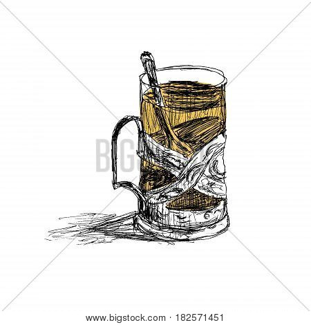 Sketch of glass with tea in glass-holder. Hand drawn vector illustration isolated on white background.