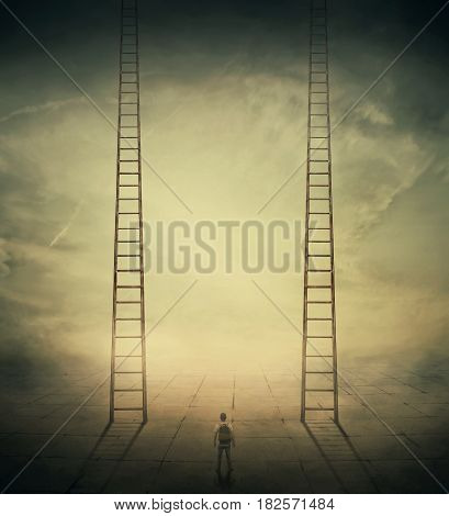 Surrealistic concept as a man standing in a foggy street looking at two stairways thinking which to climb choosing the correct way up. Different life opportunities best choice for career development.