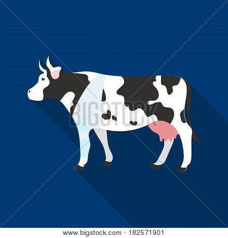 Sick cow with bandage on a leg icon in flate design isolated on white background. Veterinary clinic symbol stock vector illustration.