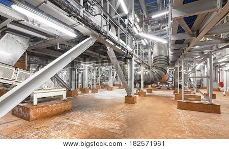 The lower level of the plant for the production of ammonium nitrate with supports for equipment and conveyor