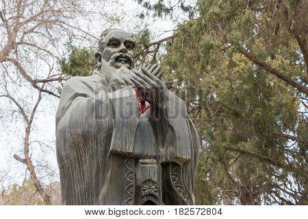 Gansu, China - Apr 08 2015: Confucius Statue At Wuwei Confucian Temple (wuwei Wen Miao). A Famous Hi