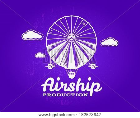 Vintage airship logo. Retro Dirigible balloon grunge template. Badge design. Old sketching style. Use as , label, stamp for web or tee , t-shirt print