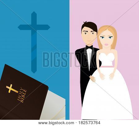 get married couple bible cross sacred card vector illustration eps 10