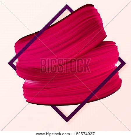 Promotion offer with red lipstick mark in frame. Cosmetics makeup fashion girly banner. Vector Illustration used in the newsletter brochures poster flyer advertisements vouchers.