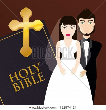 get married couple bible card invitation vector illustration eps 10