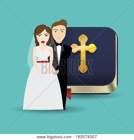 get married couple bible card celebration vector illustration eps 10