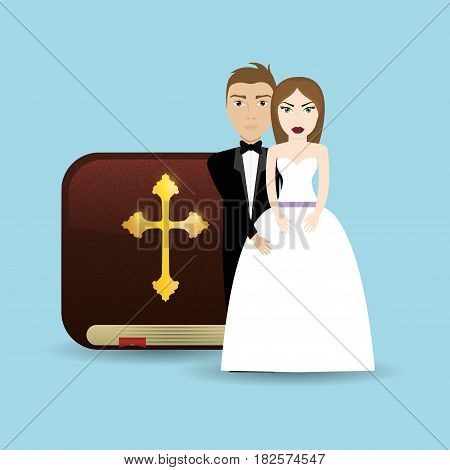 get married couple bible card wedding vector illustration eps 10