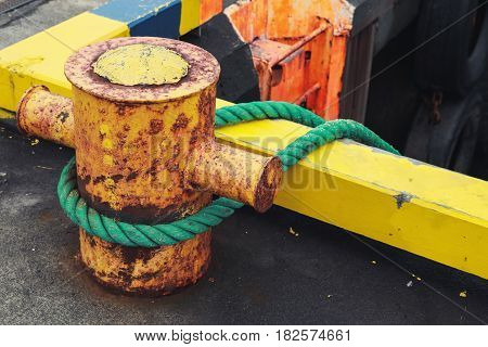 Ships Mooring Equipment, Yellow Bollard With Ropes