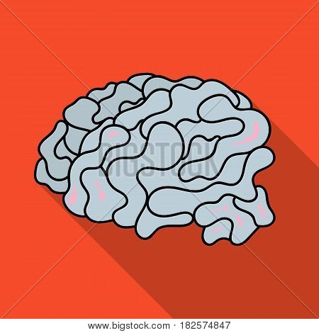 Brain in the virtual reality icon in flate style isolated on white background. Virtual reality symbol vector illustration.