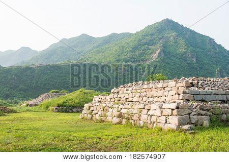 Jilin, China - Jul 27 2015: Noblemen's Cemetery At Shanchengxia (unesco World Heritage Site). A Famo