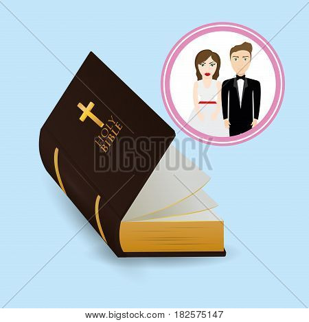 get married couple bible card image vector illustration eps 10