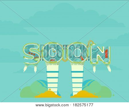 Coming Soon vector illustration icon page text
