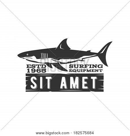 Vintage Surfing Store Badge design. Surf gear shop Emblem for web design or print. Retro shark logo design. Surf equipment Label. Surfer stamp. Summer insignia. black hipster symbol.