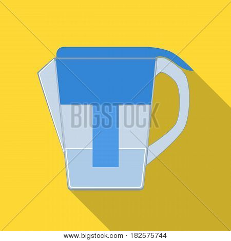 Water jug with filter cartridge icon in flate design isolated on white background. Water filtration system symbol stock vector illustration.