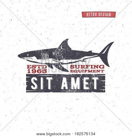 Vintage Surfing Store Badge design. Surf gear shop Emblem for web design or print. Retro shark logo design. Surf equipment Label. Surfer stamp. Summer insignia. hipster surfboarding symbol.