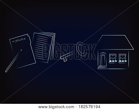 House Next To Key And Contract Vector