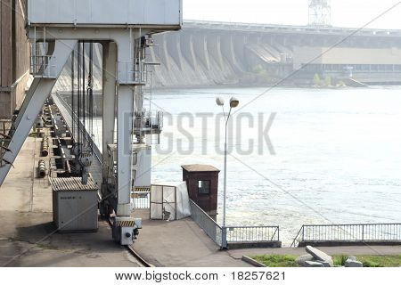 a view on a hydroelectric power station. Zaporozhye. Ukraine poster