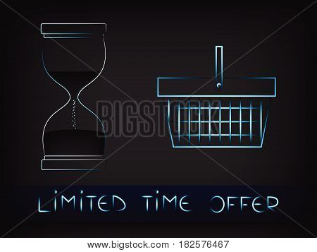 Shopping Basket Next To Hourglass Vector, Limited Time Offers