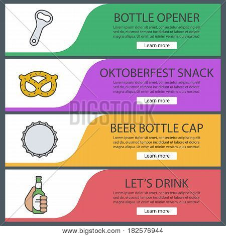 Beer banner templates set. Beer bottle opener and cap, brezel, hand holding beer bottle. Website menu items. Color web banner. Vector headers design concepts